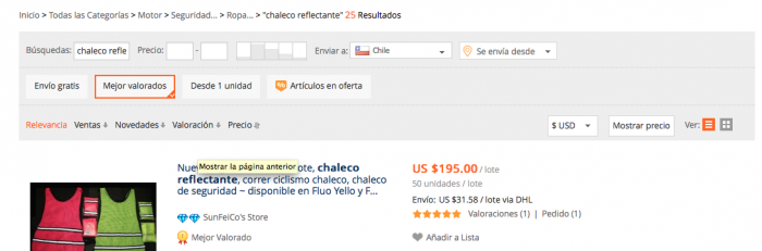 chaleco reflectante en aliexpress