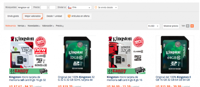 comprar tarjetas sd kingston en aliexpress
