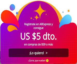 ¿Eres nuevo en AliExpress? registrate y gana un cupón de $5 USD