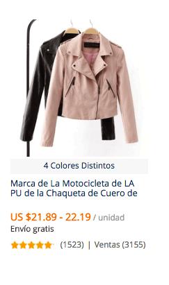 Ventas de chaquetas de cuero en chile